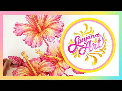 how to draw a hibiscus flower step by step video