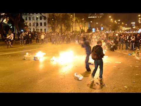 Violences après la manifestation du 22-M (Marcha de la dignidad) à Madrid
