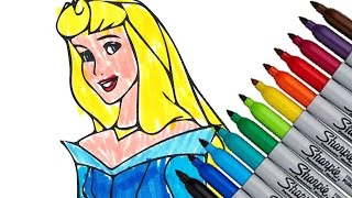 Aurora Disney Princess New 2016 Coloring Page Video For Kids cartoon Sleeping Beauty