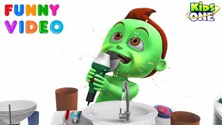 GREENY KIDDO Teeth Brushing Went Wrong | Funny Video for Kids - KidsOne