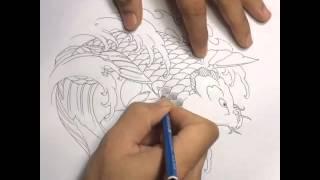 Cách thiết kế 1 hình xăm cá chép