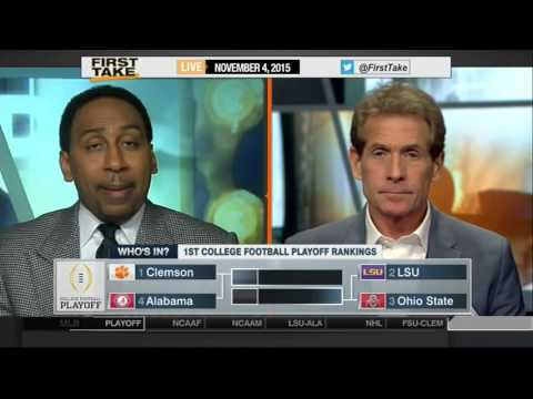 Espn First Take 11 4 2015 Clemson LSU Ohio State and Alabama top four in CFP rankings
