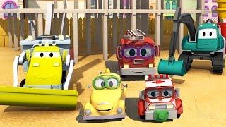 Construction Squad: Dump Truck, Crane, Excavator & Baby Cars build Paint Shooting Ran