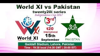 pakistan vs world 11 3rd 20/20 ptv sports LIVE MATCH