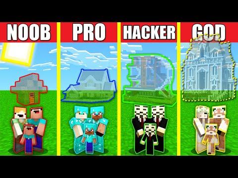 Minecraft Battle INVISIBLE HOUSE BUILD CHALLENGE NOOB vs PRO vs HACKER vs GOD Animation GLASS