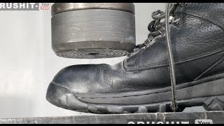 Crushing Steel Toe Cap Boots with Hydraulic Press!