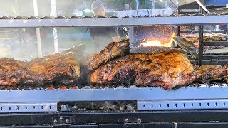 South America Street Food. Huge Grill of Mixed Meat from Argentina
