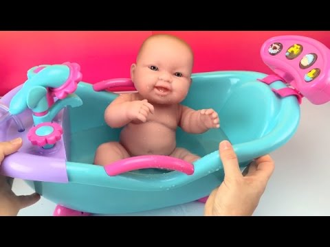 New Baby Dolls Bathtub Toy W Sounds & Shower How to Bath a Baby Doll Toys Videos