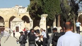 قوات الإحتلال تعتدي بالضرب على  مُسن في المسجد الاقصى