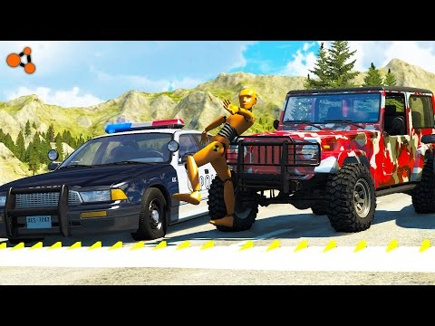 Beamng Drive Police Chases Take Down 4 Spike Strip Crashes real sounds