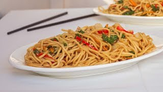 Chinese Lo Mein Recipe - Noodles with mixed Vegetables - Vegetarian