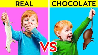 REAL VS CHOCOLATE FOOD    Funny Sweet Prank by 123 GO! PLAY