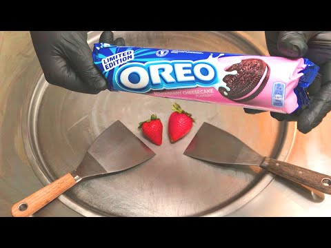 Xxx Mp4 Oreo Strawberry Cheesecake Ice Cream Rolls Fried Thai Rolled Ice Cream Roll With Oreo Cookies 3gp Sex