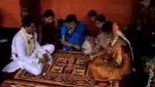 Bride and groom playing pachisi (pagade)
