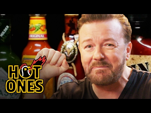 Xxx Mp4 Ricky Gervais Pits His Mild British Palate Against Spicy Wings Hot Ones 3gp Sex