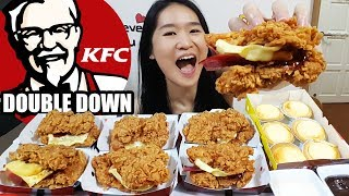 KFC DOUBLE DOWN FEAST! Creamy Cheese Tarts | Fried Chicken Mukbang Eating Show | Food Review