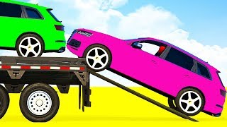 LEARN COLORS OFFROAD CARS Transportation & Spiderman for Children - Superheroes Kids Cartoon