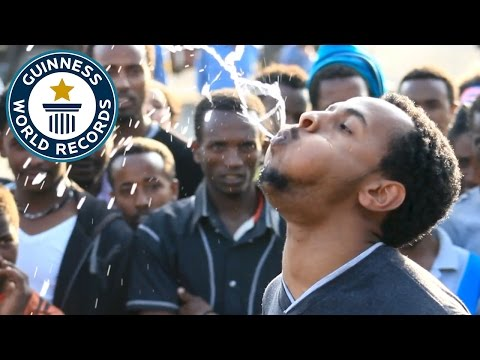 Longest time to spray water from the mouth Guinness World Records