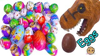 Dinosaur Eating Chocolate Eggs with Surprise Toys, Kinder Joy, Disney, Shopkins