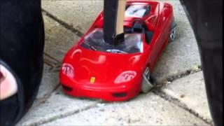 ferrari, car crushing with peep-toe heels