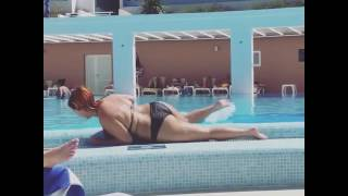 Bbw Lucy collett rolling out the pool chubby belly