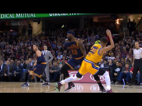 LeBron shoves Stephen Curry (flop?), he answers with 3 Pointer! - Warriors vs Cavs 2016