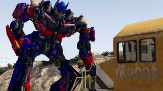 _��� OPTIMUS PRIME vs TRAIN! | GTA 5 Transformers Mod Funny Moments