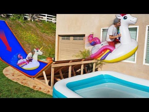 Backyard Water Slide RAMP into Pool w GIANT Walmart Inflatables