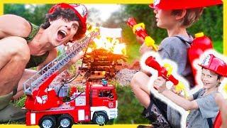 Fire Trucks for Children   Fireman Axel Puts Out Real FIRE!!🔥