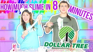 DOLLAR TREE SLIME CHALLENGE How many slimes in 8 minutes challenge | Slimeatory #58