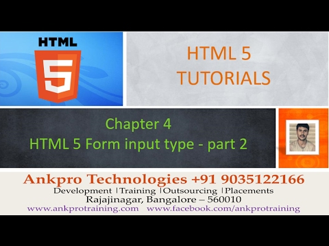 HTML 5 - Chapter 4 - HTML 5 Form input types search,  tel, url, range, email - part 2