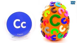 Learn-C-Letter Spelling Words that Start with the Letter C Surprise Egg Play Doh  Lesson 3