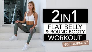 2 in 1 - FLAT BELLY & ROUND BOOTY WORKOUT  // No Equipment | Pamela Rf