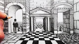 How to Draw 1-Point Perspective for Beginners: Grid and Arch