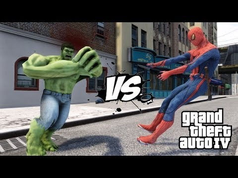SPIDERMAN VS THE INCREDIBLE HULK - EPIC BATTLE - GTA IV