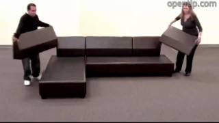 Poundex 3pcs Hungtinton Sectional Sofa Set (Ottoman Reversible) from Opentip.com