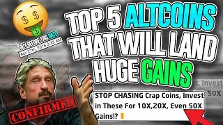 Top 5 Altcoins FOR HUGE GAINS!? *50X Gains* MUST SEE VIDEO! Huge Altcoin MOONSHOT 2018!