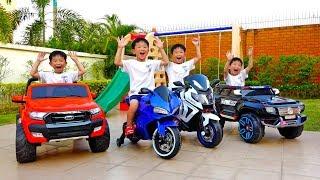 [1시간] 예준이와 아빠의 전동 자동차 장난감 어린이 놀이터 색깔놀이 연속보기 Video for Kids Power Wheel Car