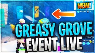 *NEW* GREASY GROVE EVENT MELTING NOW | VENDING MACHINES INSIDE // SEASON 9 (fortnite LIVE)