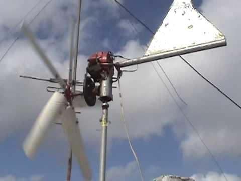Probando Alternador Anexado A Sistema Eólico