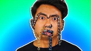 A Face Full Of Earrings ~ 100 Piercings