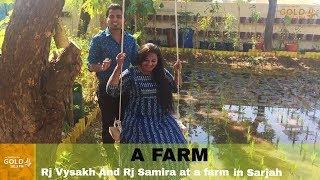 Rj Vysakh and Rj Samira at a farm in Sharjah