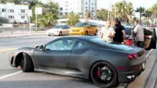 Justin Bieber driving his Ferrari