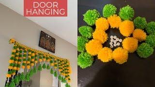 DIY pom pom Toran door hanging    Hindi Vlog    Happy Home Maker Subhra