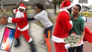 SANTA PULLING UP IN THE STREETS 1v1 Basketball For Gifts & IPHONE X-MAS!