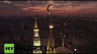 Russia: Drone footage captures majesty of Moscow Cathedral Mosque at dawn