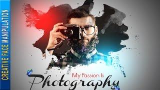 Creative Face Photo Manipulation → Photoshop Tutorial Paint Splash Using Brush
