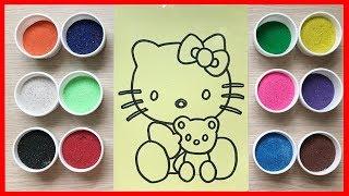 Đồ chơi trẻ em TÔ MÀU TRANH CÁT Mèo Hello Kitty ôm gấu Teddy Learn Color Sand Painting