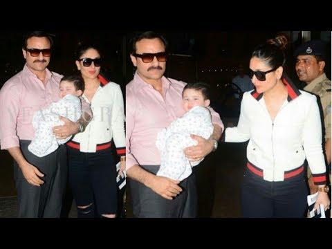 Taimur Ali Khan looks supercute with mom Kareena kapoor and dad Saif at Airport ❤️| Exclusive