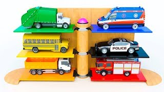 Learning Kids Videos - Toy Vehicles Parking | Police Car School Bus Garbage Truck